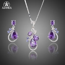 AZORA Lastest Issued Purple Top grade Cubic Zirconia Water Drop Earrings and Pendant Necklace Jewelry Sets TG0173(China (Mainland))