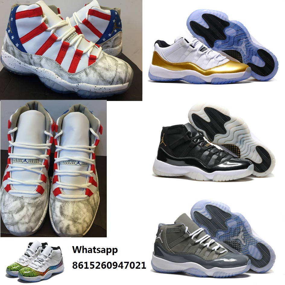 New 2016 mens air jordan 11 shoes retro xi boots usa flag black gold white low olympic with original box for man size US 8 to 14(China (Mainland))