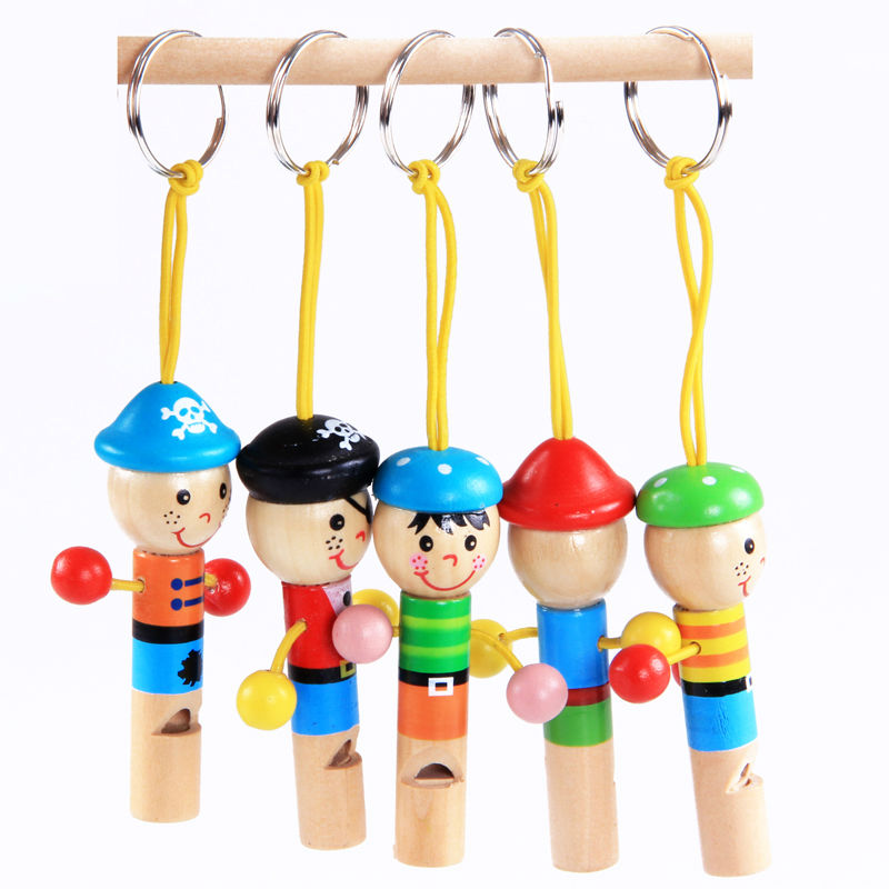 Free shipping Kids Early childhood educational wooden toys factory outlet pirate character whistle TOY gift(China (Mainland))