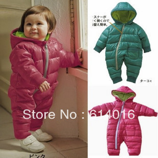 baby romper thickening cotton-padded spring and autumn rompers coverall childrens clothing baby boys girls Hooded down jackets<br><br>Aliexpress