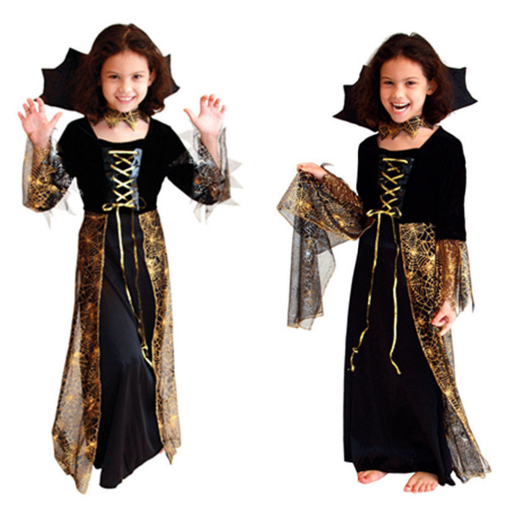 2015 New Sexy Girls Halloween Party Queen Costumes Outfit Childrens Fancy Cosplay DResses Size S-XL(China (Mainland))