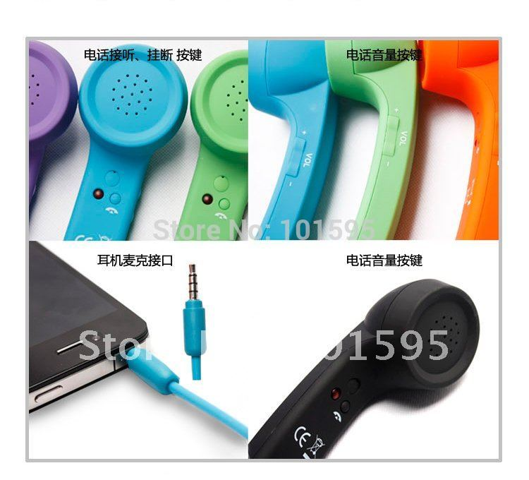 3.5mm Newest Telephone Receiver Handset Earphone Anti-radiation Retro Phone Telephone Handset For iPhone / iPad / HTC / Samsung(China (Mainland))