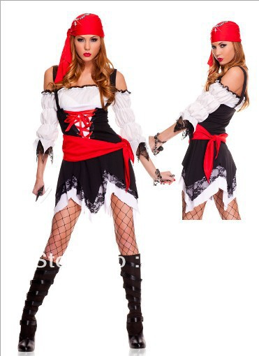 free shipping 3,324 irregular skirt Halloween costume skeleton with witch queen role playing pirate costume party with(China (Mainland))
