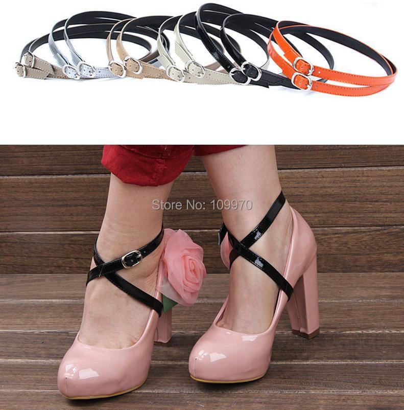New high heeled flat shoe safety clips bands strap locking shoe leather shoelace belt wedding sport outside universal 4pairs/lot(China (Mainland))