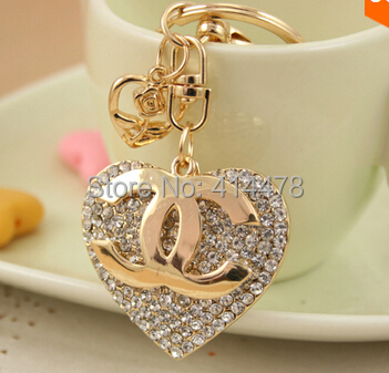 2015 Rhinestone alloy gold plating key chain ring, jewelry Fashion Metal heart Keychain Keyring - YY Shopping Store store