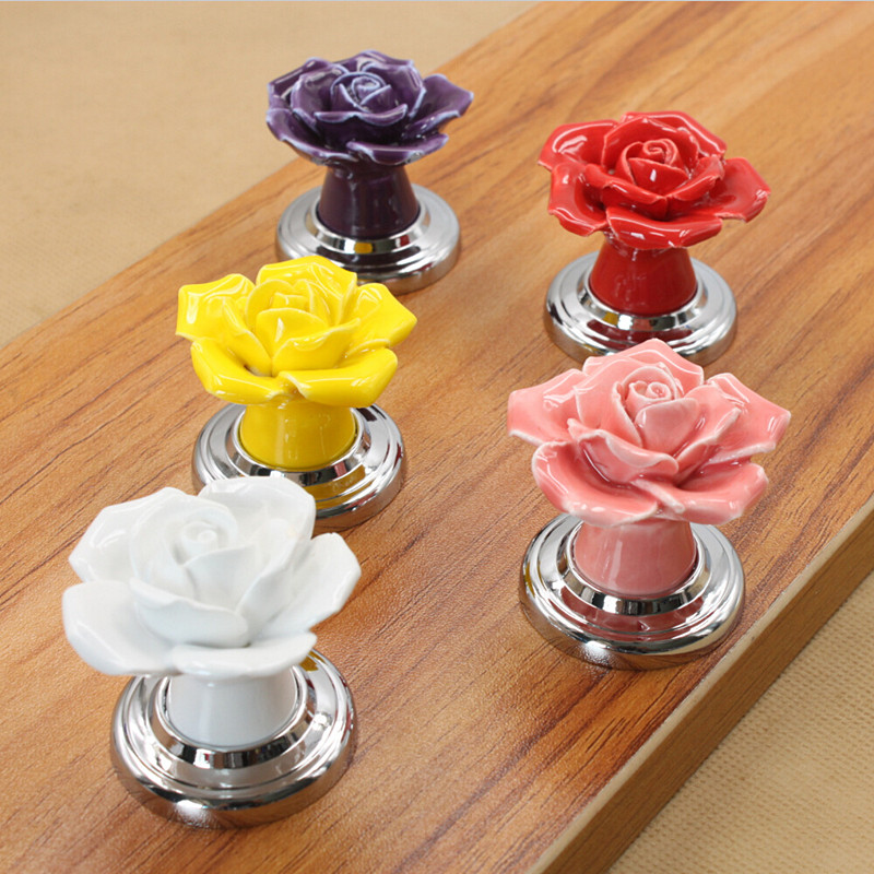 Single Hole Ceramic Door Handles Rose Flower Silver Bedside Table Wardrobe Cupboard Drawer Closet Pull Knobs Handle Furniture<br><br>Aliexpress