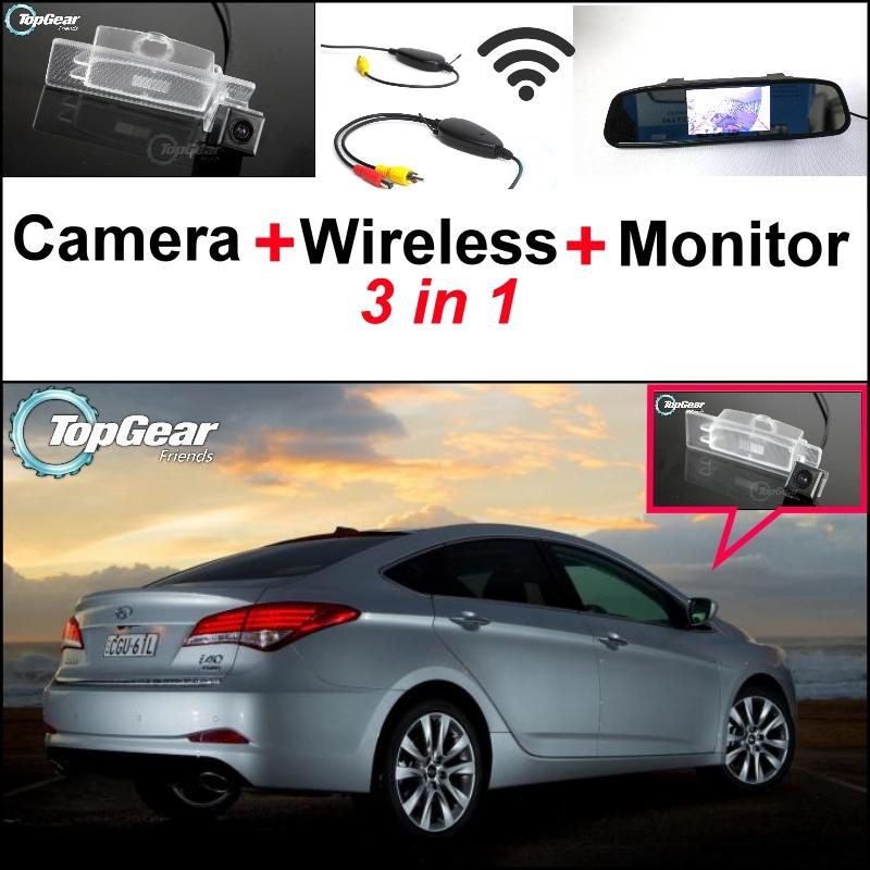 3 in1 Special Rear View Camera + Wireless Receiver Mirror Monitor Easy DIY Back Parking System Hyundai i40 2011~2015 - NOVOVISU Store store