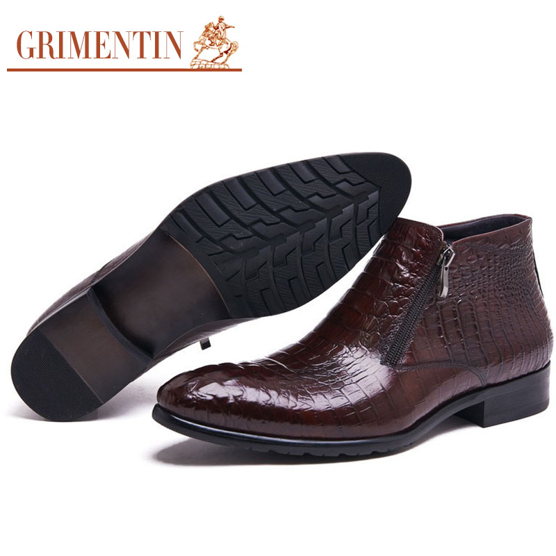 GRIMENTIN fashion crocodile mens leather boots black brown luxury brand men dress shoes ankle boots for men wedding office(China (Mainland))
