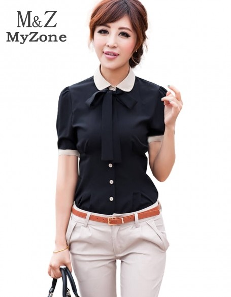 2014 new black navy blue women ol career turn down collar for Women s short sleeve button down cotton shirts