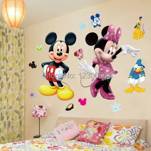 Mickey mouse minnie vinyl mural wall sticker decals kids for Mickey mouse home decorations