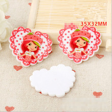 Stock!!!! 30pcs 35x32mm flat back cartoon Strawberry girl resin for diy decoration crafts accessories free shipping(China (Mainland))