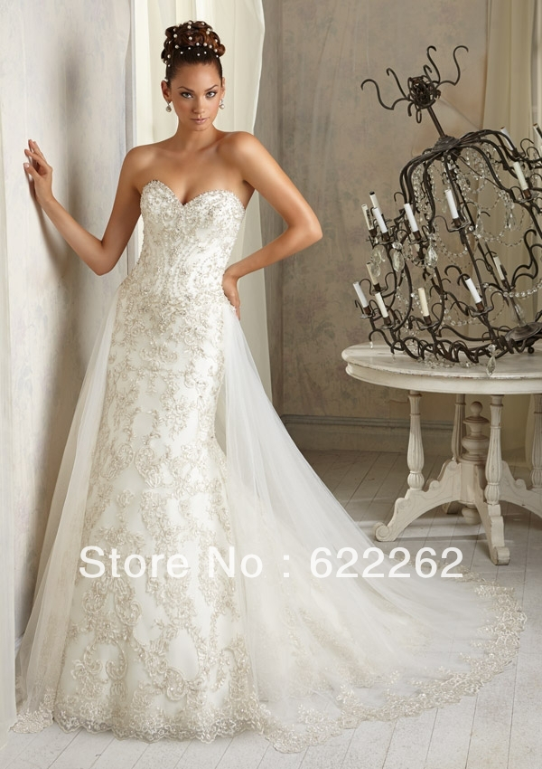Most popular mermaid sweetheart chapel train white lace wedding dresses remove skirt wedding gowns low back beads crystal(China (Mainland))