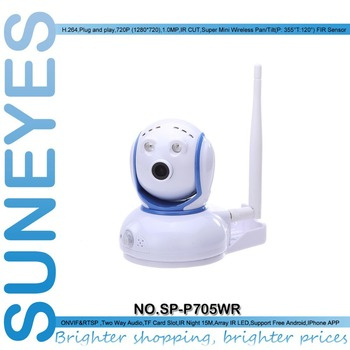 SunEyes SP-P705WR 1280*720P HD Mini Wireless IP Camera ONVIF P2P With TF/Micro SD Slot and PIR Detection Alarms Two Way Audio