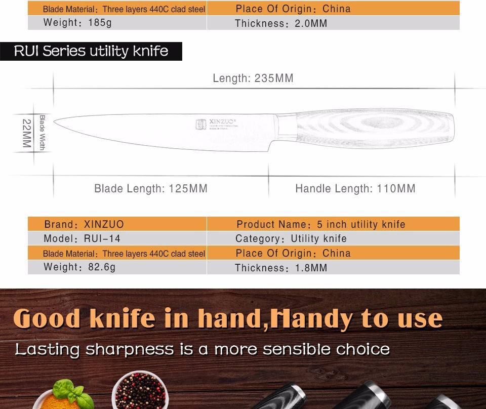 Buy XINZUO 3 pcs kitchen knife set utility Chef knife 3 layers 440C clad steel Kitchen Knife super sharp santoku knife free shipping cheap