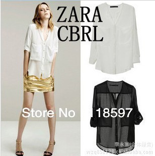 2013 new arrival with sun protective clothing chiffon shirt long-sleeved thin shirt, large pocket white black shirt fs clothes