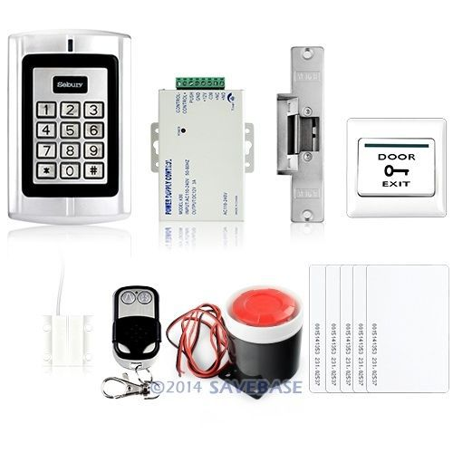HOMSECUR RFID Card Access Control System Kit With Strike Lock +Door Sensor+ Alarm+5 Cards(China (Mainland))
