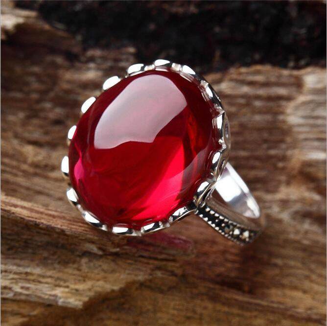 100% Natural Ruby Red Corundum Stone Ring Jewelry for Women S925 Sterling Silver Ring with Ruby Corundum Cabochon Ring(China (Mainland))