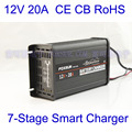 Free Shipping wholesale original 12V 20A 7 stage smart Lead Acid Battery Charger 12V Car battery