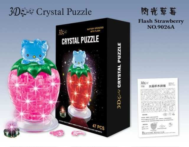 Free shipping 65pcs/lot Assembly crystal 3D jigsaw puzzle DIY strawberry kitty educational toys kid's gift christmas presents