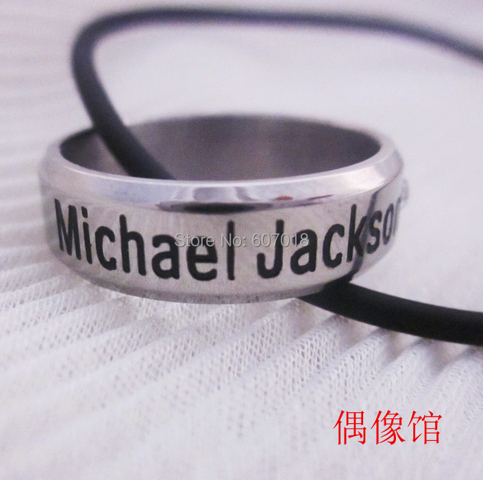 In Memory Of MJ Michael Jackson 18K Silver Stainless Steel Letter Men's Fashion Star Celebrity Rings(China (Mainland))