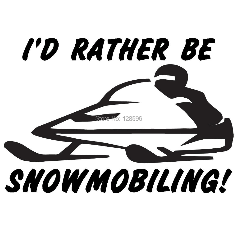 I'd Rather Be Snow Mobiling Sticker Car Window Truck Bumper SUV Door Laptop Kayak Art Wall High Quality Vinyl Decal 8 Colors(China (Mainland))