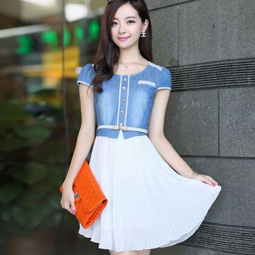2013 new fashion Hot-sale school wear sweet summer water wash denim patchwork short-sleeve thin pleated dress for girls