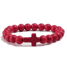 Urok bransoletka z kamienia naturalnego krzyż czarny lawa matowe bransoletki z koralików Handmade mężczyźni kobiety modlitwa Fitness Chain para biżuteria prezent(China)