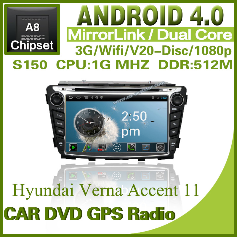 Pure Android 4.0 Car PC for Hyundai Verna Solyaris with radio DVD GPS Bluetooth TV USB ipod dual core 3G Wifi Free shipping 1262(China (Mainland))