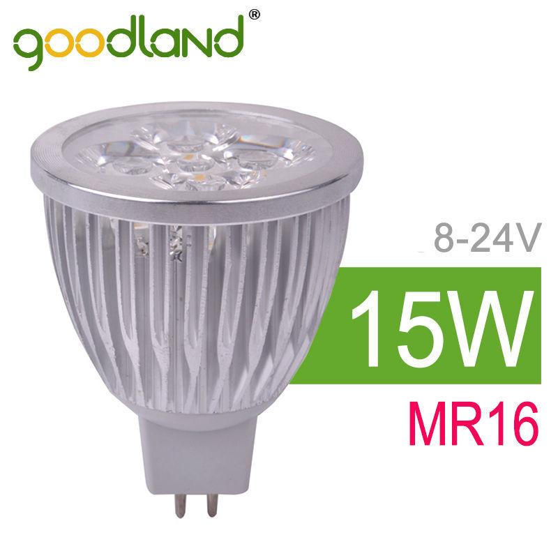 Goodland Brand High Power LED Bulb 15W MR16 12V 24V LED Lamp Light LED Spotlight Bright LED Spot Light White/Warm White 6pcs/lot<br><br>Aliexpress