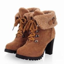 2013 caliente Botas Moda Mujeres Tobillo Tacones Altos Atan para arriba la Nieve Plataforma Botas Bombea los zapatos de invierno cálido(China (Mainland))