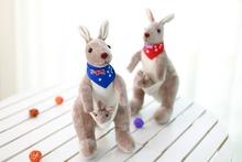 35cm lovely kangaroo plush toy scarf design Australia kangaroo doll,baby toy gift ,Christmas gift c1202(China (Mainland))