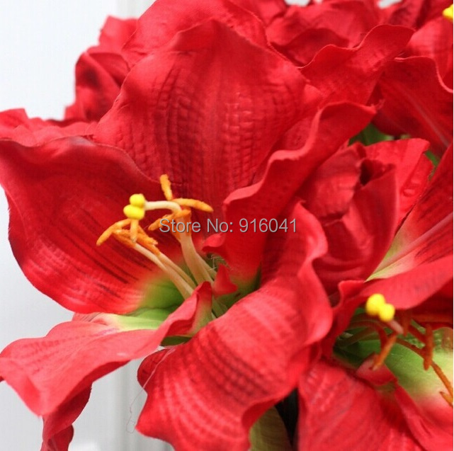5pcs/lot - Amaryllis Big Orchid Display Decorative Flower Artificial Wedding White Flower Event Hotel Free Shipping(China (Mainland))