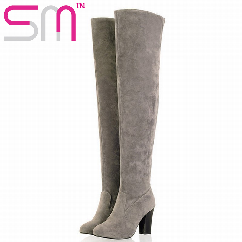 2016 Newest Round Toe Sexy Over the Knee High Boots Lady's Med Heels Autumn Winter Boots Fashion Women Shoes Big size 34-43(China (Mainland))
