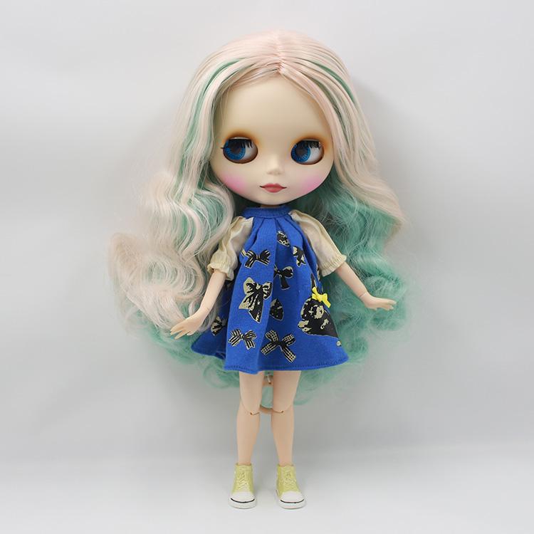 Фотография Amazging Cute Bjd doll nude Blyth doll diy face green powder color long hair 1/6 bjd doll joint body  baby dolls for girls