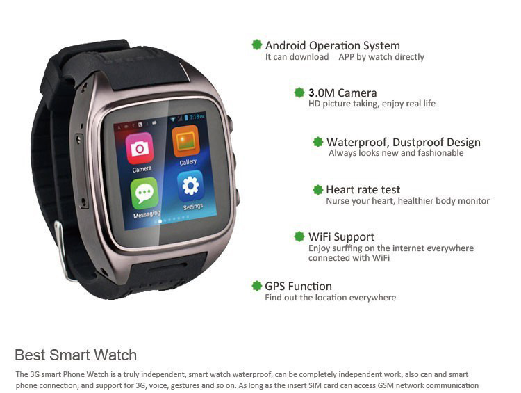 """2015 Best Smart Watch 1.54"""" SIM+GPS+WiFi+BT all in one Waterproof Dustproof Android Smart Watch Mobile Phone(China (Mainland))"""