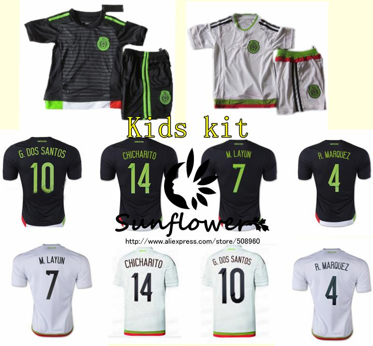 New 2015/2016 Mexico kids kit jerseys home and away soccer jerseys best Thai Quality children football uniforms,Free shipping.(China (Mainland))