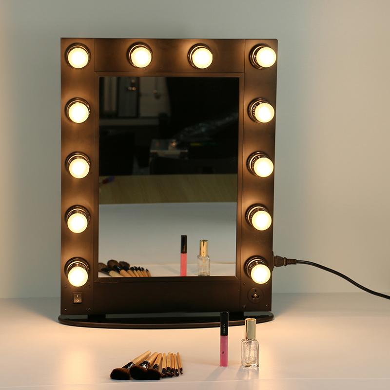 Freeshpping personalized multifunction aluminum finished hair salon mirror station with 12 bulds(China (Mainland))