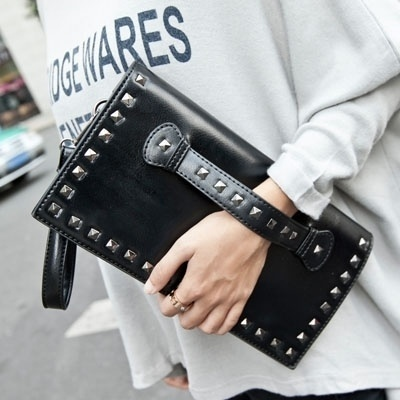 2016 New Vintage Envelope Bag Shoulder Rivet Clutch Handbag combination multiplication bags (Size: 29 cm, Color: Black)(China (Mainland))