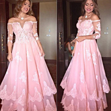 Buy New Lace Three Quarter Sleeve A-Line Evening Dress 2017 Lace Appliques Prom Dresses Boat Neck Sweep Train Evening Party Dress W4 for $149.46 in AliExpress store