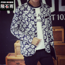 Men outerwear clothes bomber jackets coat hip hop baseball slim fit floral print short jacket