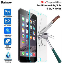 Buy Bainov 2Pcs/lot 9H Tempered Glass iPhone 4 4s 5 5s 6 6s Plus Explosion-proof Screen Protector film iPhone 7 7Plus for $1.15 in AliExpress store