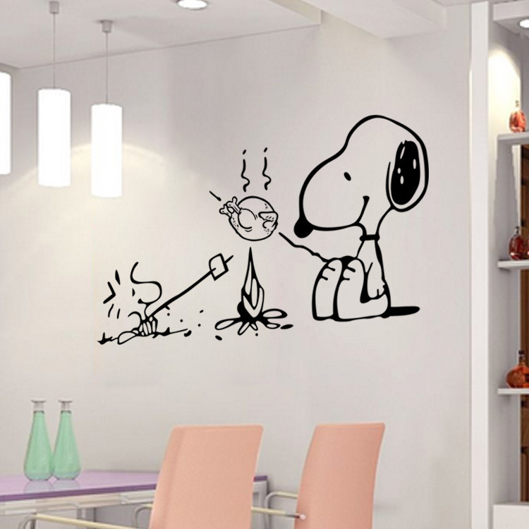 Cute Wall Decor For Kitchen : Cute dog at the barbecue removable vinyl kitchen decor