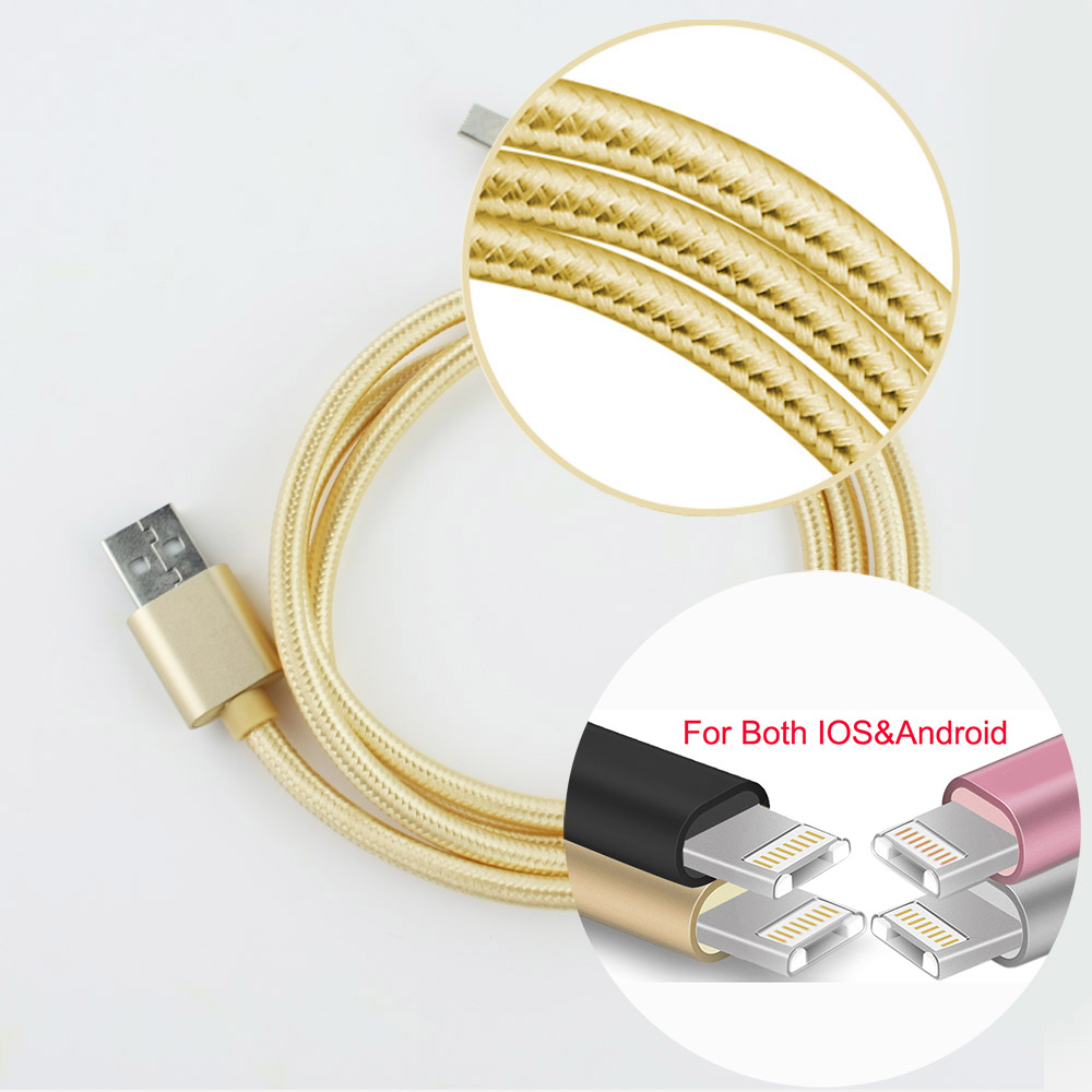 2016 3 Color Micro USB Cable for iPhone & Android Nilon Cord 1m fast charging for iphone 6 Xiaomi Huawei LenovoUSB cable Cord(China (Mainland))