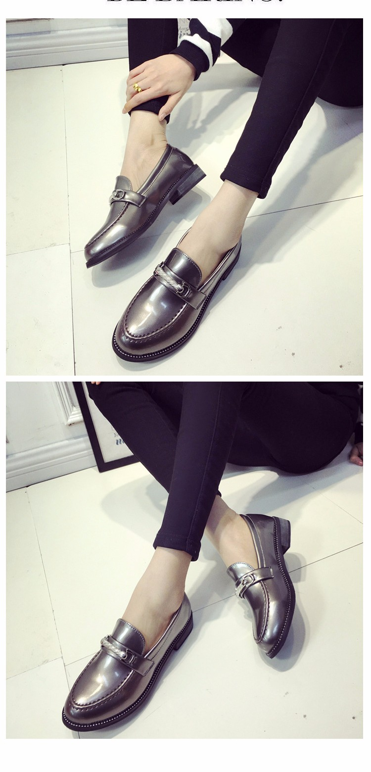 Hot Sale British Style Fashion Shoes 2016 Spring Shallow Mouth Leisure Woman Flats PU Leather Round Toe Single Shoes ST169