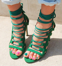 Woman cross straps heel sandal Genuine Leather thin heels brand same design high-heeled summer shoes gladiator sandals women(China (Mainland))