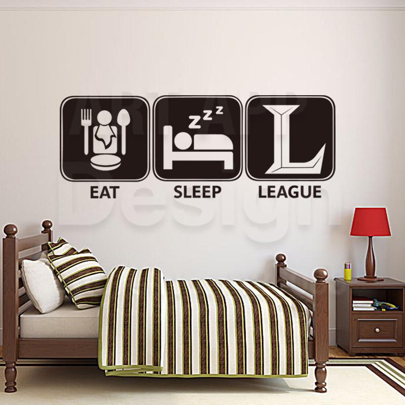 arte nuevo diseo de decoracin eat sleep liga calcomanas de vinilo etiqueta de la pared removible