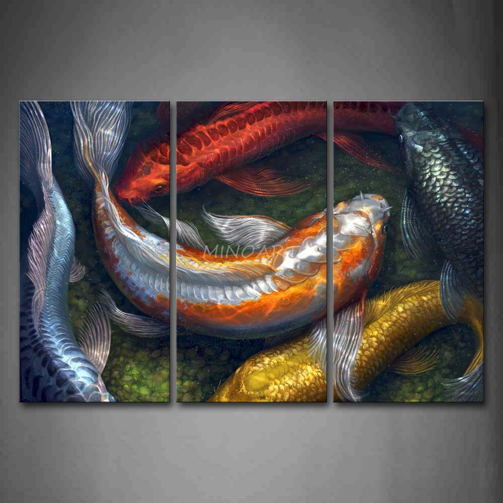3 piece wall art painting colorful koi swimming in water for Koi canvas art