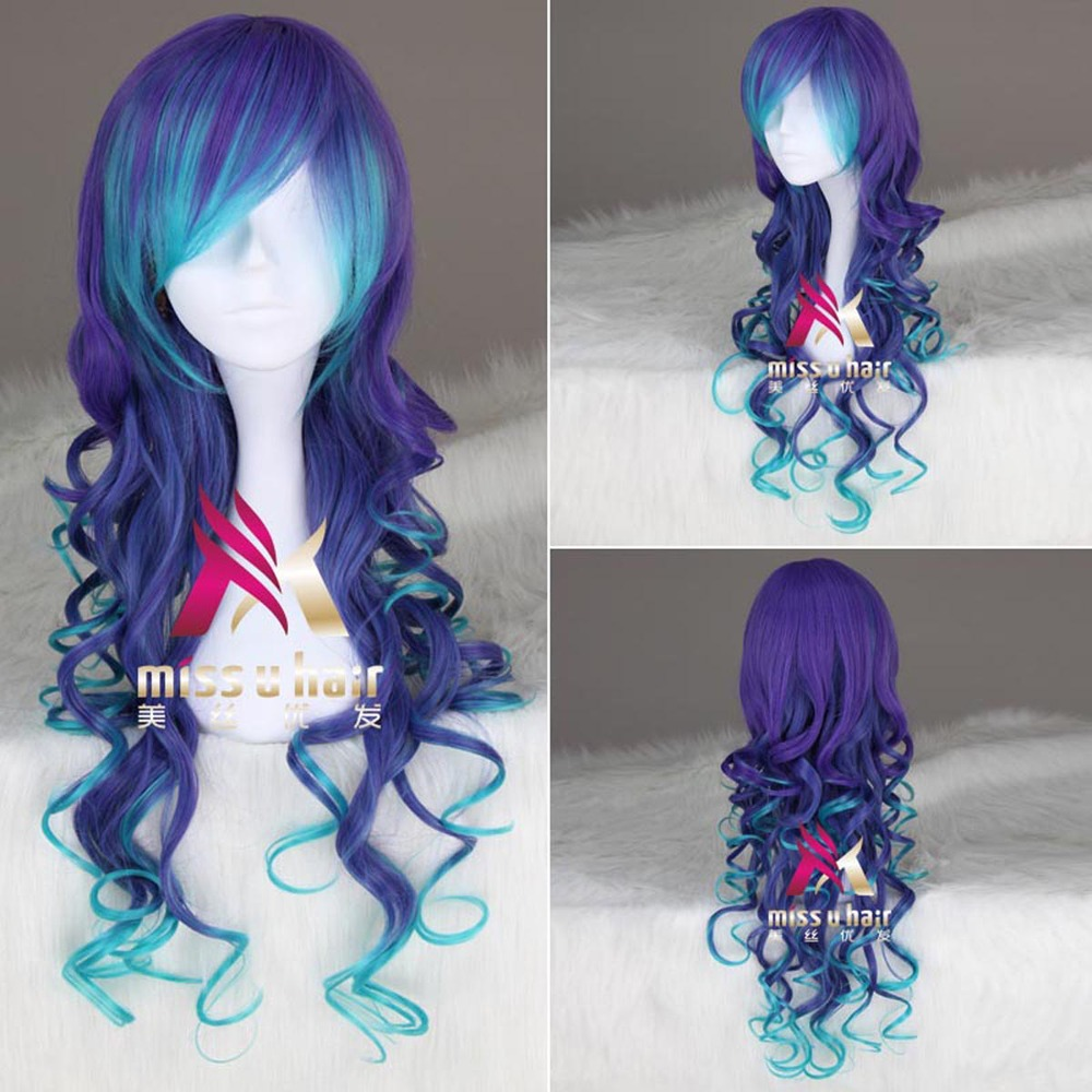 Vocaloid3 Luka Blue Amp Purple Synthetic Long Curly Cosplay
