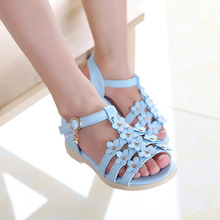 2016 Summer style children sandals Girls princess beautiful flower shoes kids flat Sandals baby Shoes wholesale tide sneakers(China (Mainland))