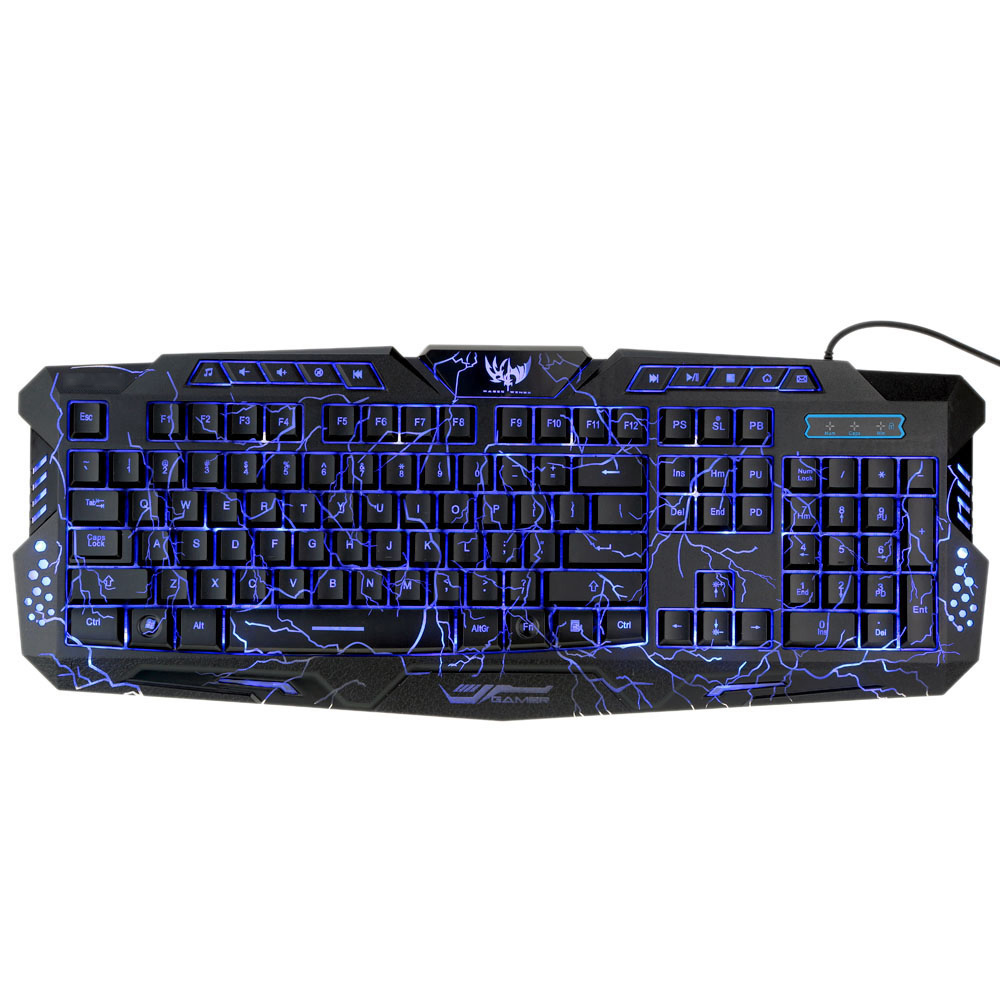 Adjustable Crack Backlight Wired LED Backlit Keyboard Computer Gaming Keyboard for PC Notebook Laptop(China (Mainland))